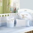 笑巴喜纯棉婴儿床上用品套件全棉 婴儿床床围 夏 宝宝床围六件套