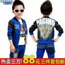 童装男童秋装套装2014新款韩版儿童运动套装卫衣三件套小孩衣服潮